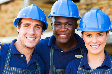 building material: hardware store workers outside building material warehouse