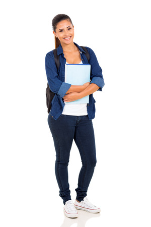 happy female college student on white background Stock Photo