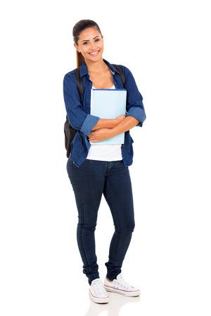 plain background: happy female college student on white background Stock Photo