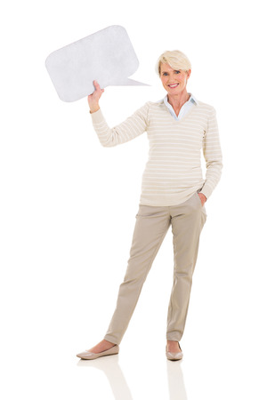 girl holding sign: happy middle aged woman holding speech bubble on white background