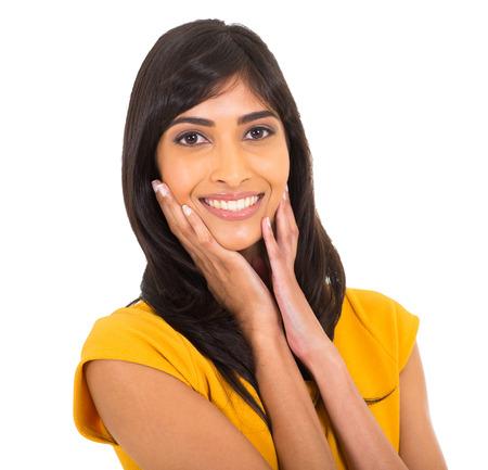 cute indian woman closeup portrait on white photo