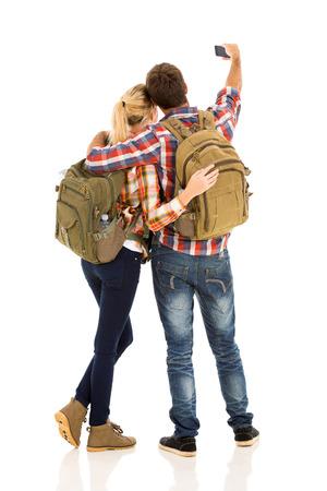Travel Backpack: Vista posterior de la toma de par selfie con su tel�fono inteligente