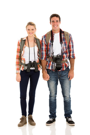 happy young hiker couple holding hands photo