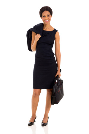 pretty mature african businesswoman holding jacket and briefcase