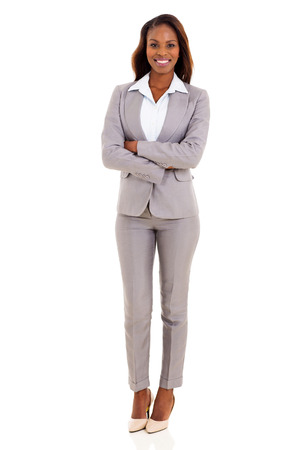 happy african american businesswoman with arms crossed Stock Photo