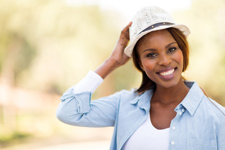 afro woman: portrait of young african woman outdoors Stock Photo