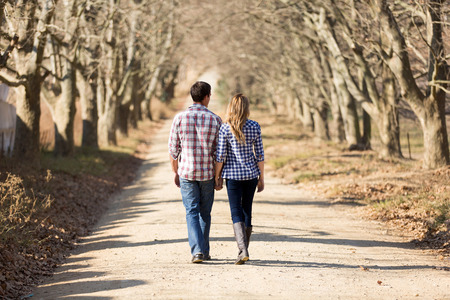 couple in love: rear view of couple holding hands walking in autumn countryside