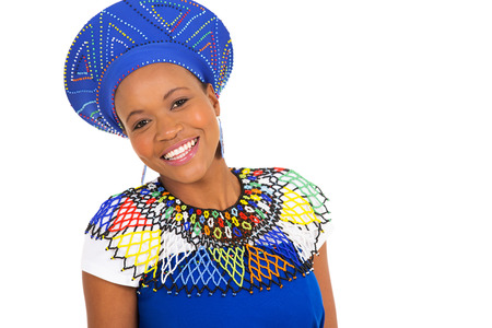 zulu: portrait of beautiful african woman on white background Stock Photo