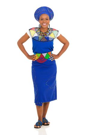 zulu: beautiful young african woman posing on white background