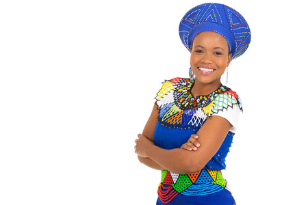 zulu: beautiful young african woman with arms crossed isolated on white