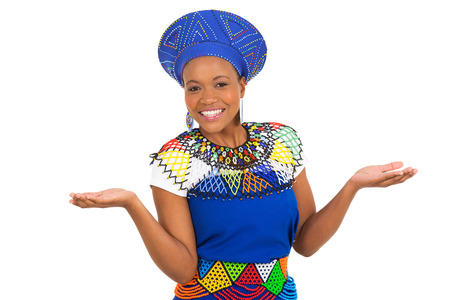 zulu: happy young south african woman in traditional clothes