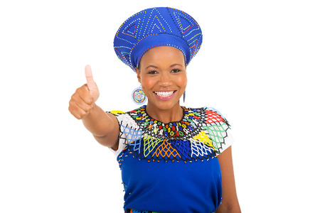 zulu: cute african girl giving thumb up over white background