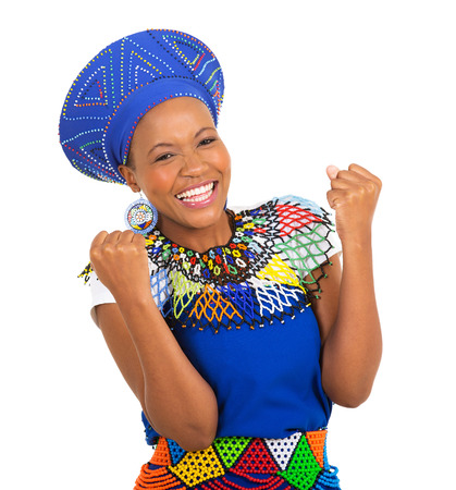 zulu: excited african girl in traditional clothes isolated on white Stock Photo