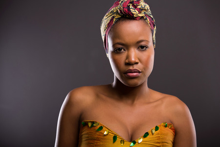 zulu: beautiful african woman with clear skin looking at the camera