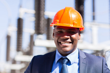 african businessman: close up portrait of african electrical manager Stock Photo