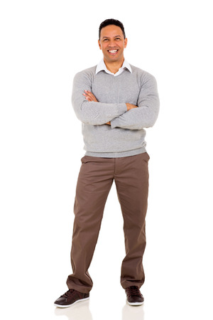 白で隔離される腕を組んでハンサムな男 写真素材