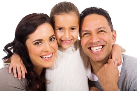close up portrait of happy family Stock Photo
