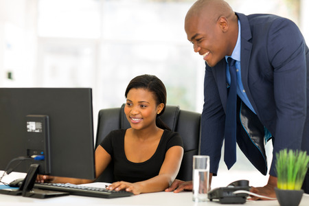 professional african businesspeople working on computer