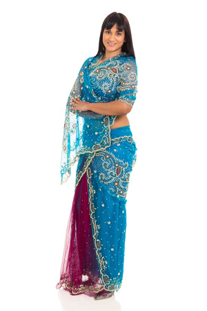 pretty indian lady posing in saree isolated on white background photo