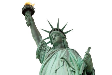 statue: statue of liberty in new york city isolated on white background
