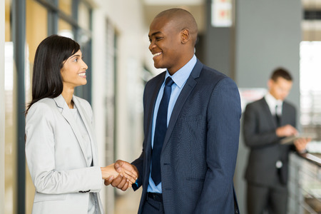 african american handshake: professional indian businesswoman handshaking with african businessman