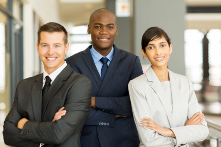 happy afro american businessman with co-workers photo
