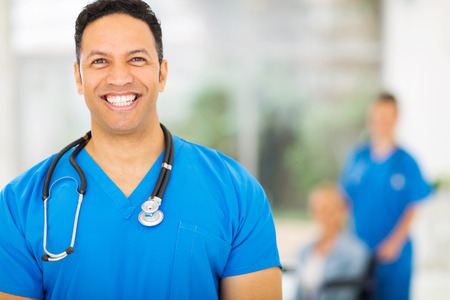 handsome mid age medical expert in hospital photo