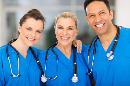 group of happy medical team in hospital