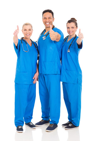 healthcare workers: group of cheerful healthcare workers thumbs up