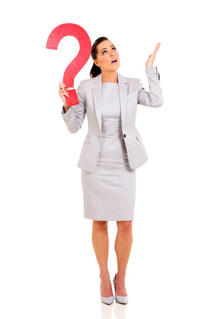 gorgeous businesswoman: clueless businesswoman with question mark