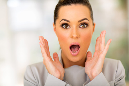 mouth close up: portrait of beautiful surprised businesswoman Stock Photo