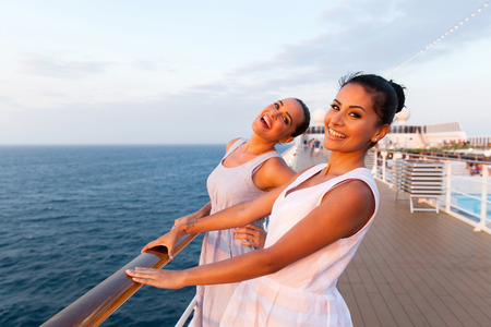 cheerful two women having fun on cruise ship Standard-Bild