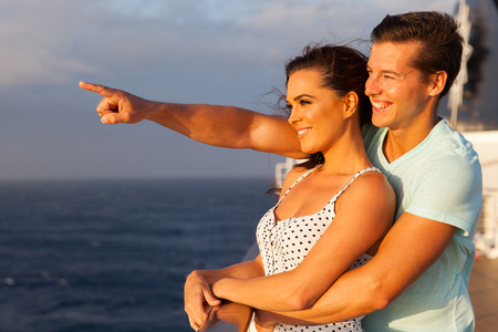 loving couple enjoying a cruise together Stock Photo