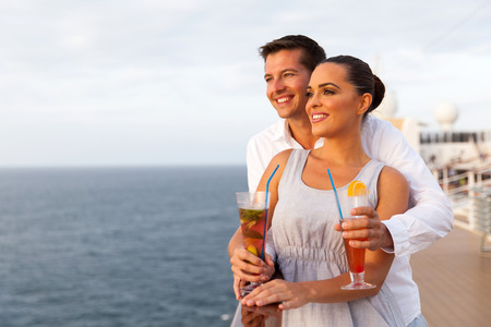 adult cruise: cute young couple on cruise trip