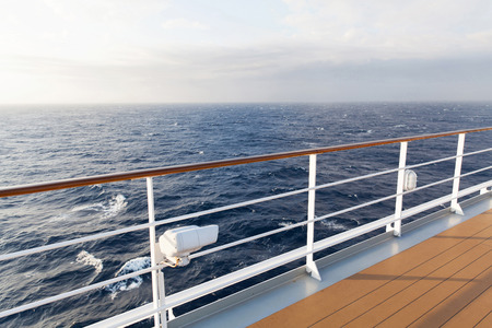 ship deck: beautiful sea view from deck of cruise ship