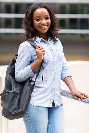 african student: beautiful african american female college student with backpack Stock Photo