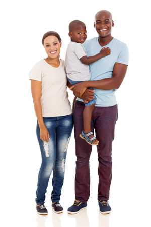 young family: happy young african family full length portrait isolated on white background