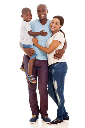 holding family together: beautiful african american family isolated on white background Stock Photo
