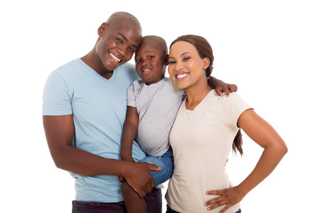 young happy african american family on white background