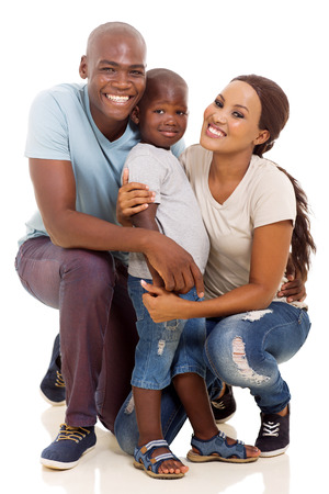 ethnic family: little african boy and parents isolated on white background Stock Photo