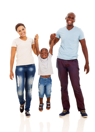 young african happy family having fun on white background Stock Photo