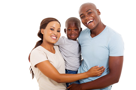 portrait of happy african family of three isolated on white