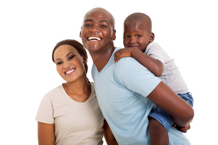 beautiful black woman: cheerful young black couple with their child isolated on white