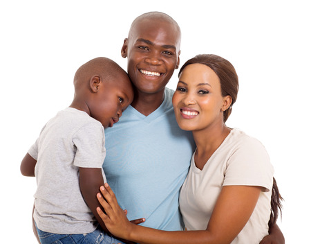 holding family together: modern young African family portrait isolated on white Stock Photo