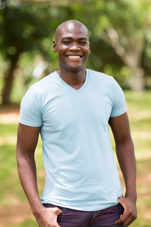 black forest: portrait of happy african man outdoors Stock Photo