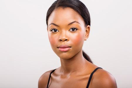 beauty shot: young black woman beauty shot on plain