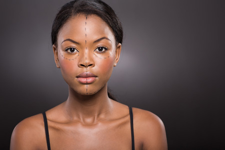 plastic surgery: close up portrait of african american woman before plastic surgery Stock Photo