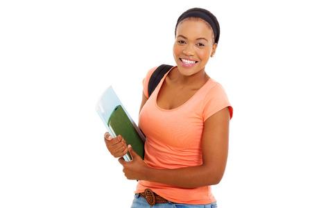 black girl: niedliche weibliche African American Student mit Bücher isoliert auf weiß Lizenzfreie Bilder