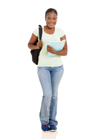 tertiary: pretty female african american university student full length isolated on white