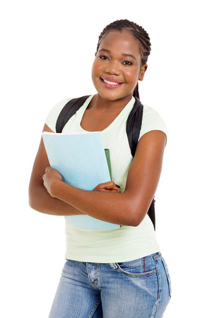 african student: portrait of beautiful african college student isolated on white Stock Photo